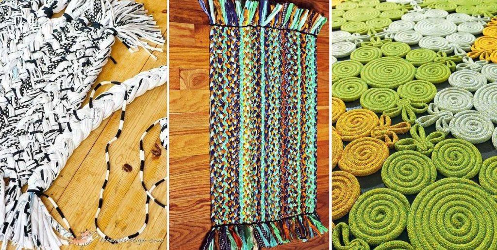 Вариации ковриков из старых футболок, сплетенных в косички