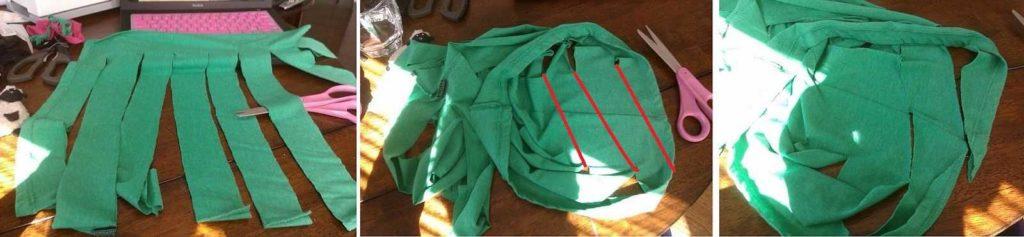 Как сделать длинную полоску из футболки для самодельного коврика