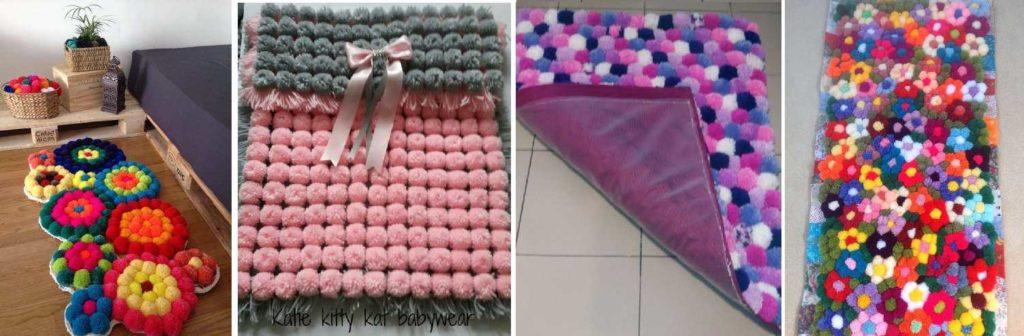 Вот как можно сделать коврики своими руками из помпонов