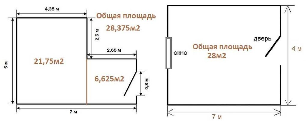 Схема комнаты с нанесенными измерениями