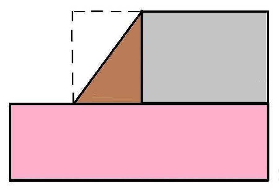 Получается, ищем площадь трех прямоугольников