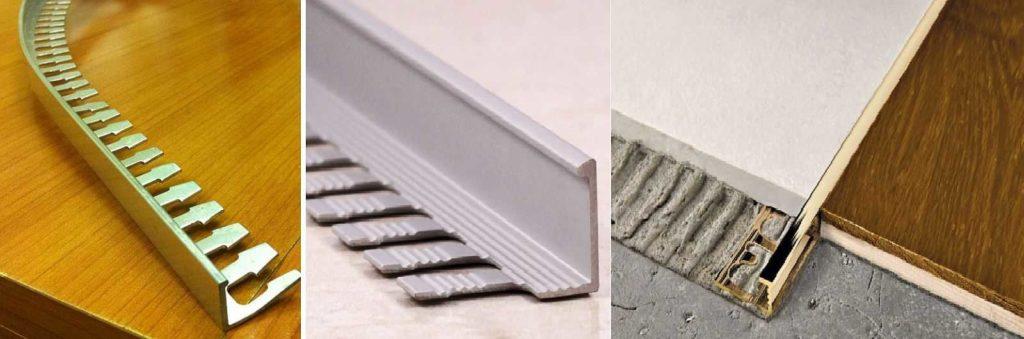 Металлические гибкие пороги для непрямого стыка плитки и ламината