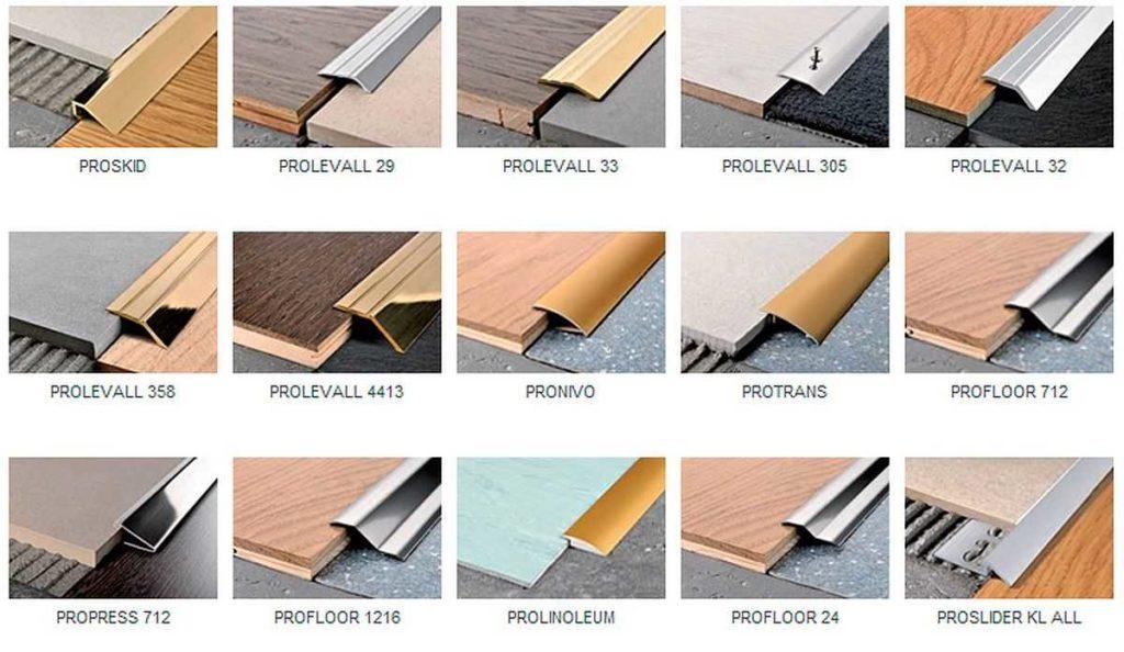 Некоторые виды металлических порожков для ламината и плитки