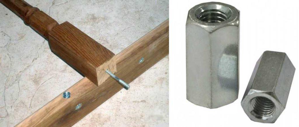 Втулка вклеивается в отверстие в балясине или в ступени (два разных типа крепления)