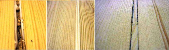 Так выглядит пол из досок до ремонта при помощи деревянных вставок и после него