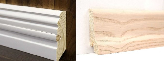 Смысл ставить деревянный плинтус и красить его укрывистой краской ..