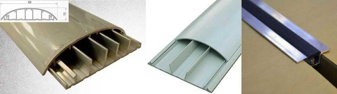 Порожек для соединения плитки и ламината с кабель-каналом