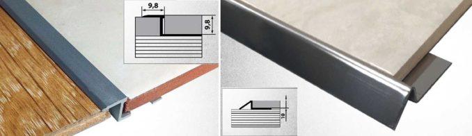 Переходные порожки между ламинатом и плиткой в форме буквы Z