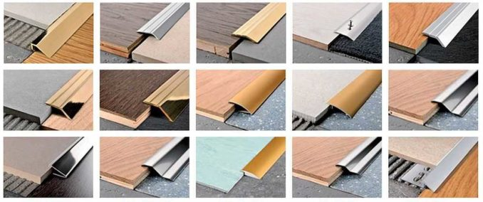 Некоторые виды профилей для стыка плитки и ламината