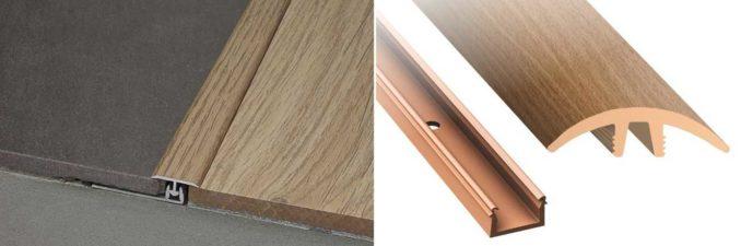 Т-образный порог между плиткой и ламинатом может быть для одноуровневых и разноуровневых покрытий