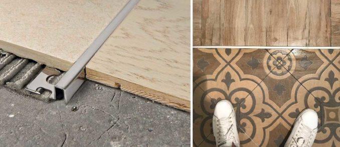 Если порожек между плиткой и ламинатом совсем не нравится, или стык находится не возле двери, можно поставить металлическую вставку