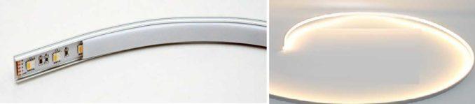 Сделать подсветку и использовать как плинтус можно гибкий алюминиевый LED профиль