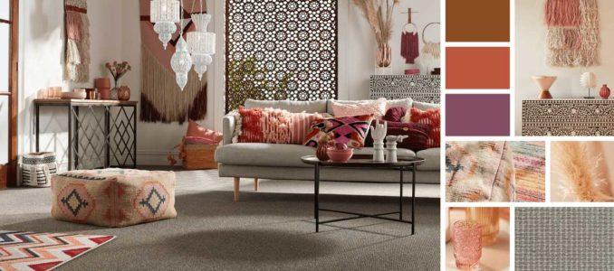Однотонный ковре в гостиную может служить отличным фоном для декора