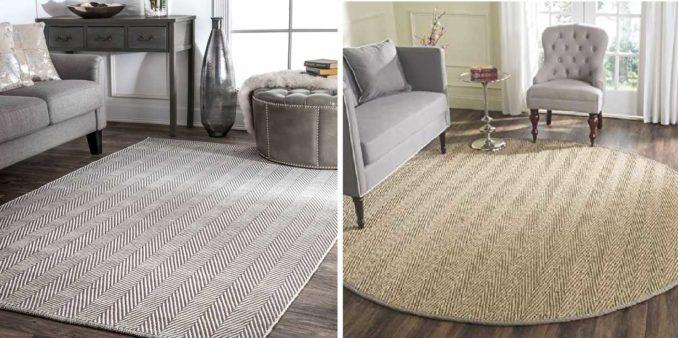 Тканные ковры на пол могут быть из шерсти, джута, синтетических волокон. Уход за ними проще