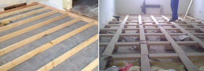 Некоторые считают что крепить лаги к бетону надо обязательно. Другие - что можно обойтись и без этого