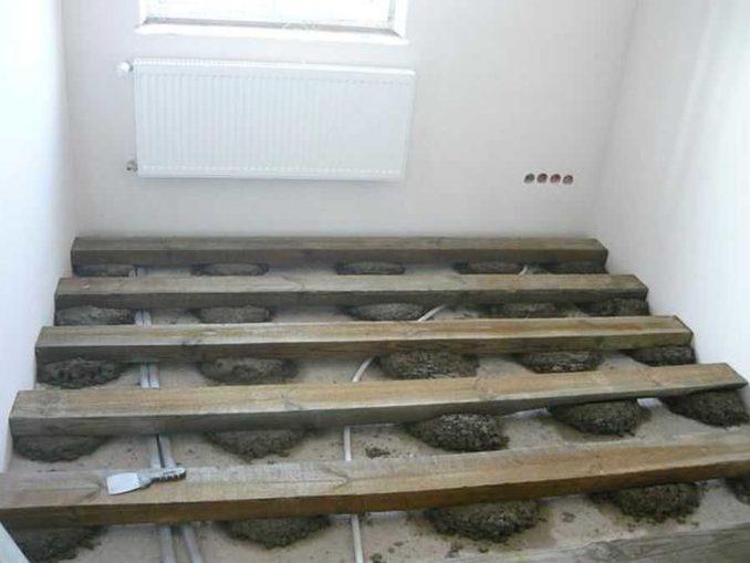 Установка лаг на бетонное основание без свердения: на бетонную подушку