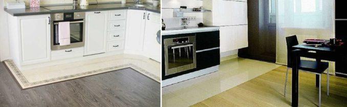 Если на кухне уложена плитка и ламинат, более современно смотрится их соединение по прямой