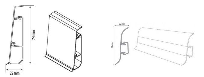 Пластиковый напольный плинтус с кабель каналом может быть двух типов