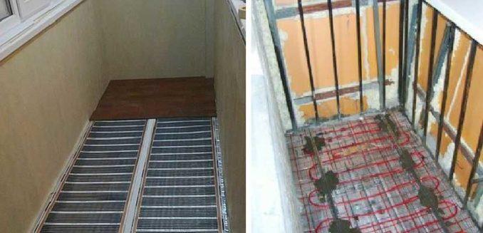 Быстрее и проще сделать подогрев пола на балконе пленкой, но надежнее - греющим кабелем
