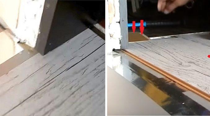 Как вынуть ламинат из-под дверного косяка
