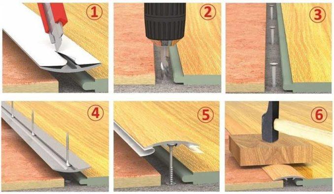 Чем закрыть стыки линолеума: правила монтажа порожка со скрытым крепежом
