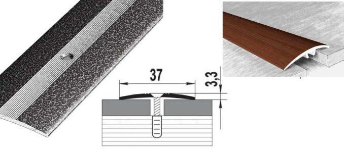 Прижимная планка для линолеума или порожек - вариант, если надо соединить разные по виду/типу листы