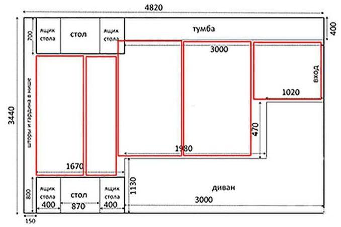 Пример плана для раскладки ИК пленки