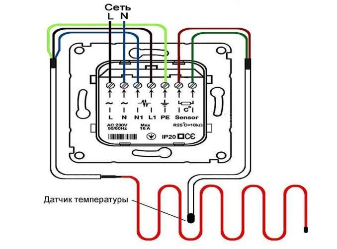 Пример подключения теплого электрического пола к термостату. БОльших отличий быть не должно. Смотрите обозначения на корпусе