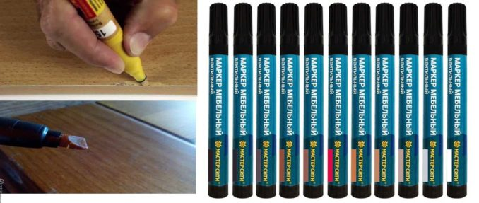 Чем затереть царапины на ламинате - один из вариантов мебельный маркер