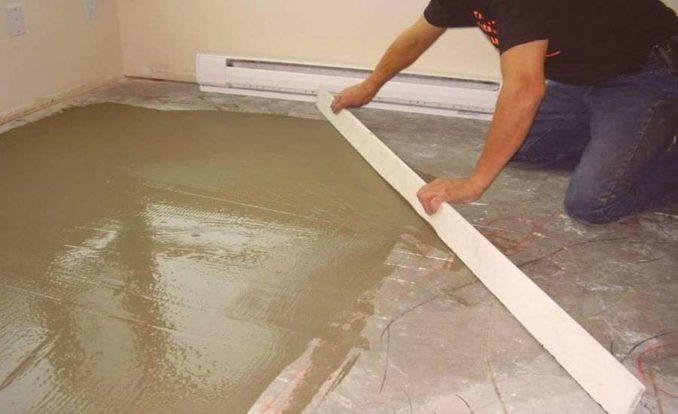 Ннастил линолеума на бетонный пол возможет только если он ровный