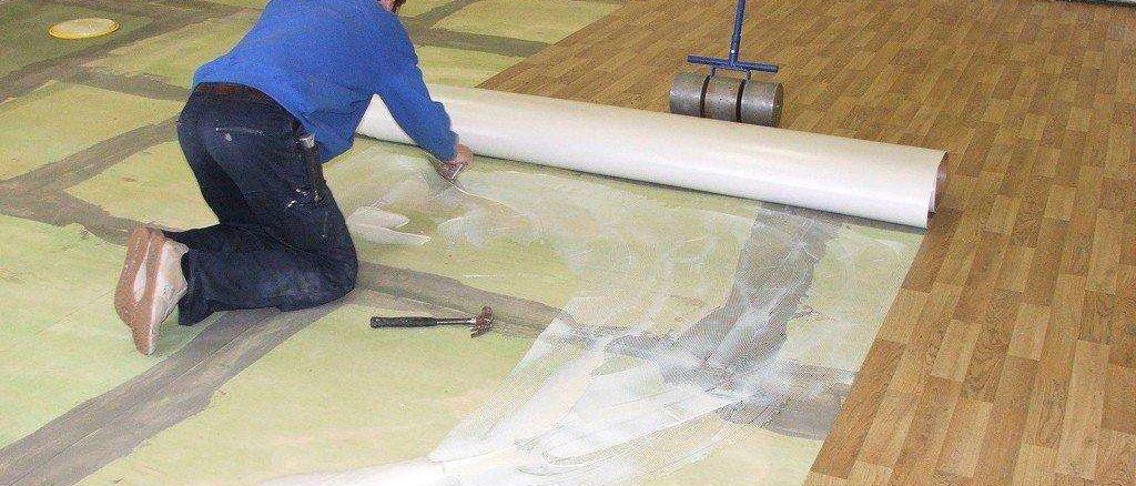 Как класть линолеум на бетон