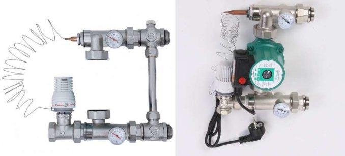 Одна из составляющих теплого водяного опла - насосно-смесительный или смесительный узел
