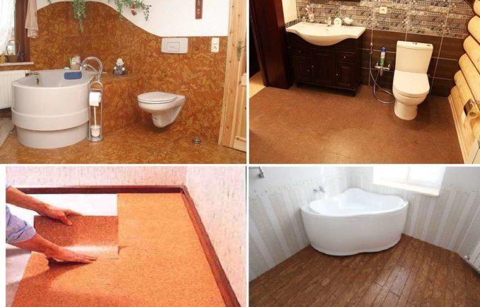 Можно сделать пол в ванной комнате из пробки под слоем лака