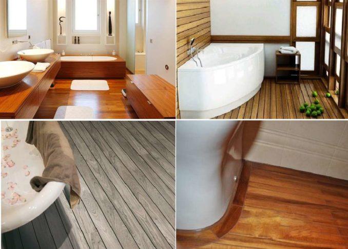 Деревянный пол ванной комнате