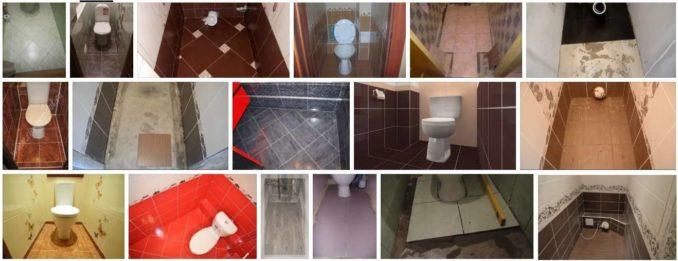 Выбор раскладки зависит от размеров плитки и туалета